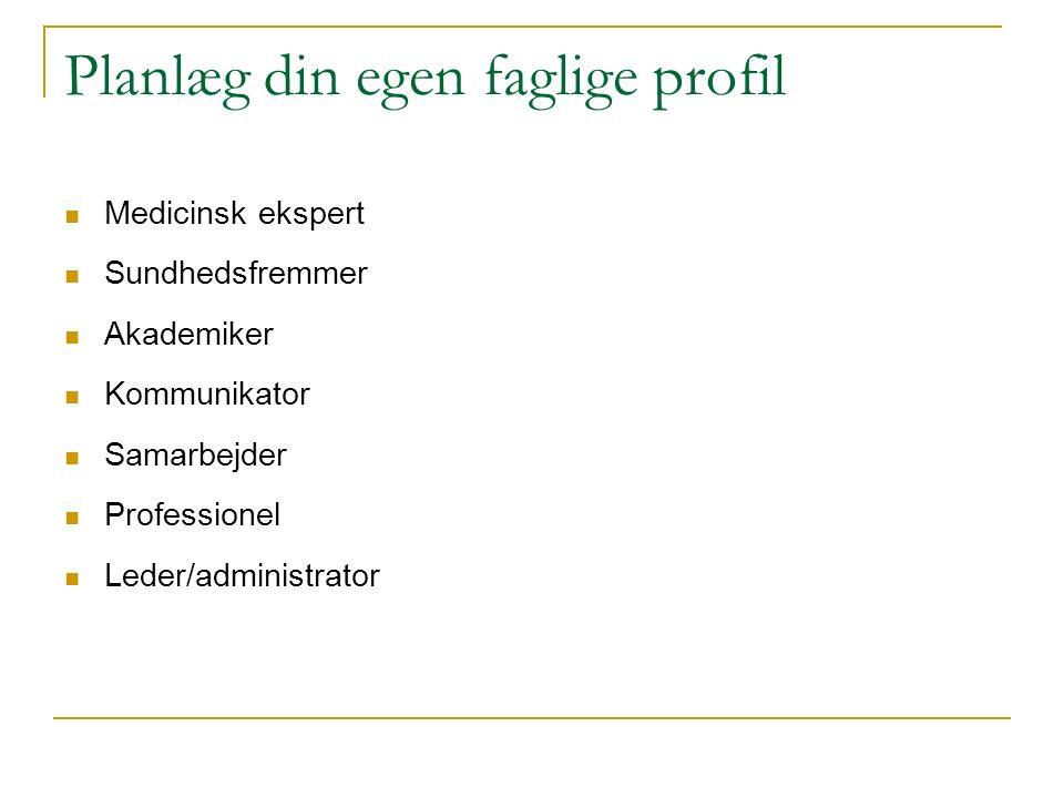 Planlæg din egen faglige profil Medicinsk ekspert Sundhedsfremmer Akademiker Kommunikator Samarbejder Professionel Leder/administrator