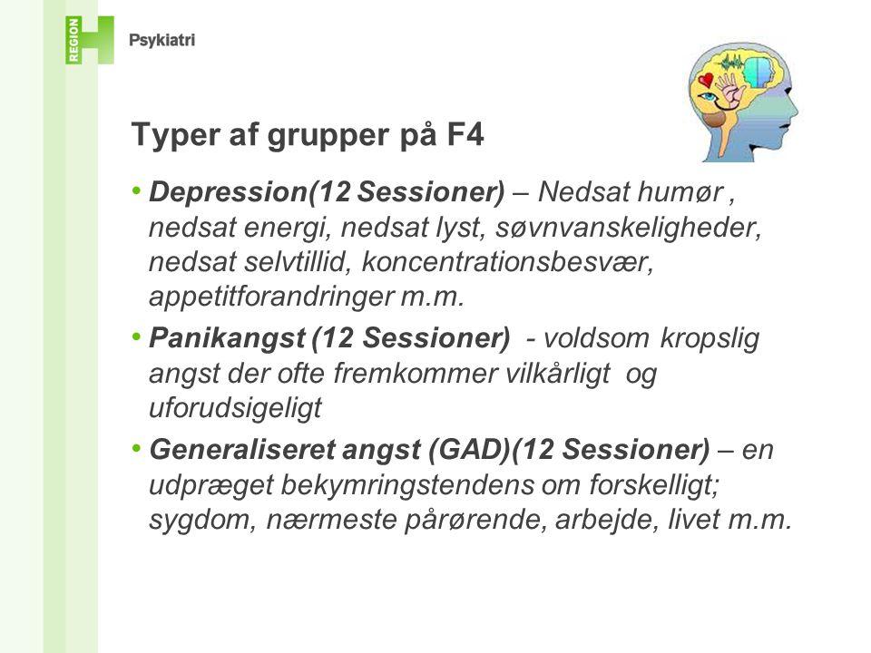 Typer af grupper på F4 Depression(12 Sessioner) – Nedsat humør, nedsat energi, nedsat lyst, søvnvanskeligheder, nedsat selvtillid, koncentrationsbesvær, appetitforandringer m.m.