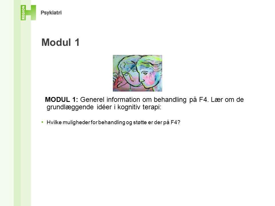 Modul 1 MODUL 1: Generel information om behandling på F4.