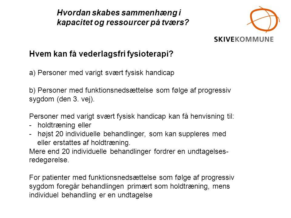Hvem kan få vederlagsfri fysioterapi? a) Personer med varigt svært fysisk handicap b) Personer med funktionsnedsættelse som følge af progressiv sygdom
