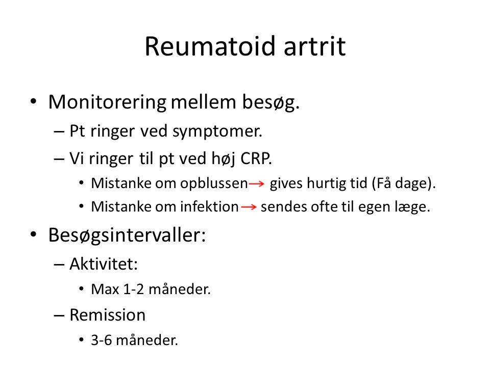 Reumatoid artrit Monitorering mellem besøg. – Pt ringer ved symptomer.