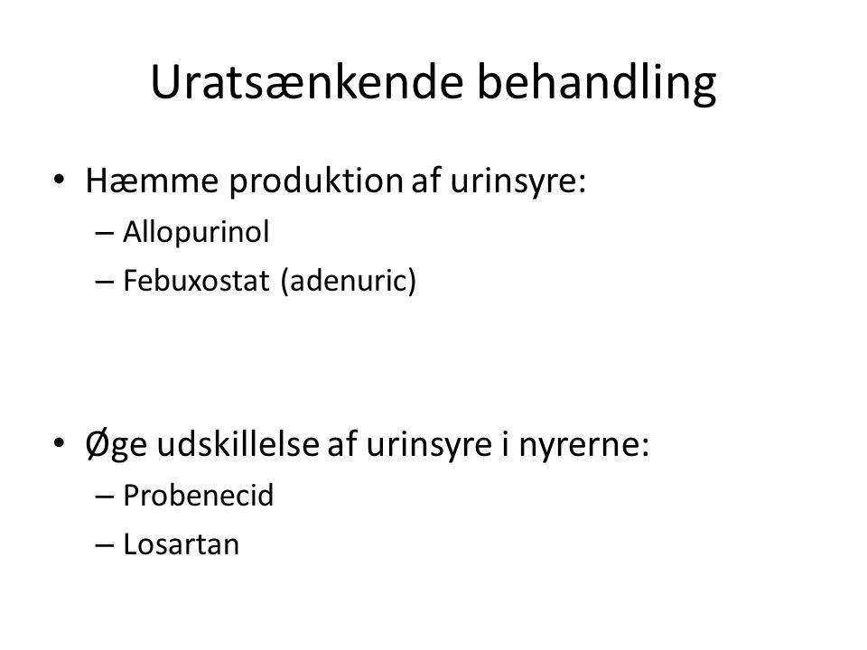 Uratsænkende behandling Hæmme produktion af urinsyre: – Allopurinol – Febuxostat (adenuric) Øge udskillelse af urinsyre i nyrerne: – Probenecid – Losartan