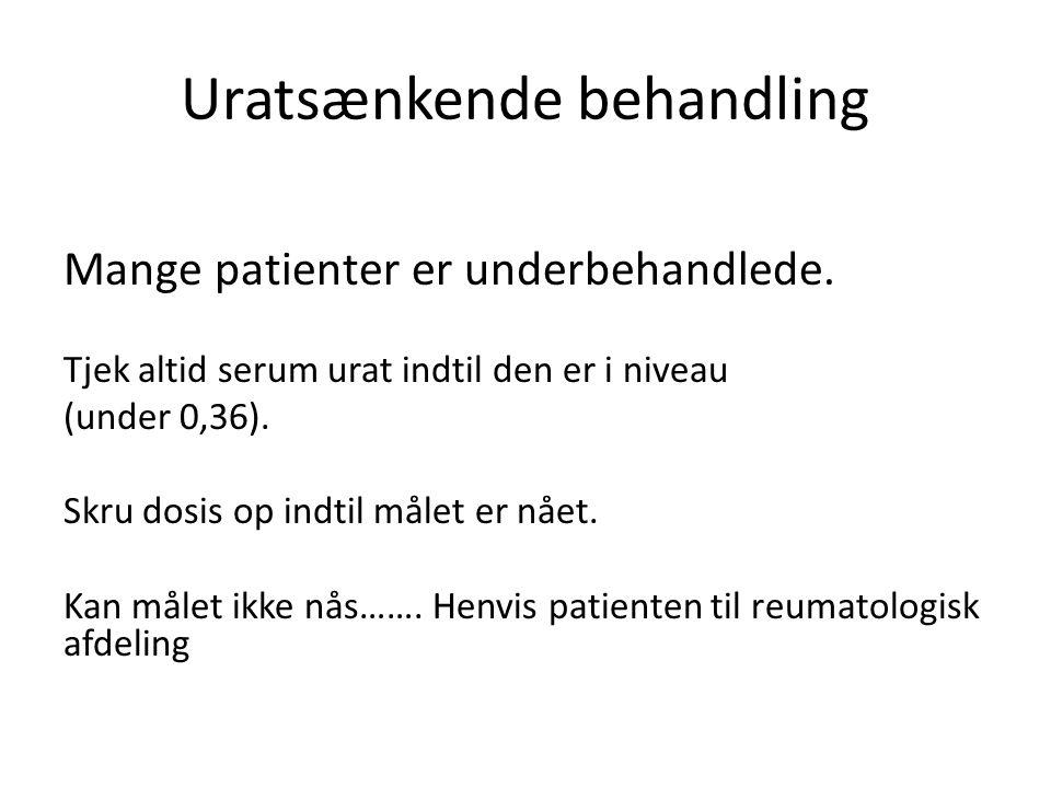 Uratsænkende behandling Mange patienter er underbehandlede.