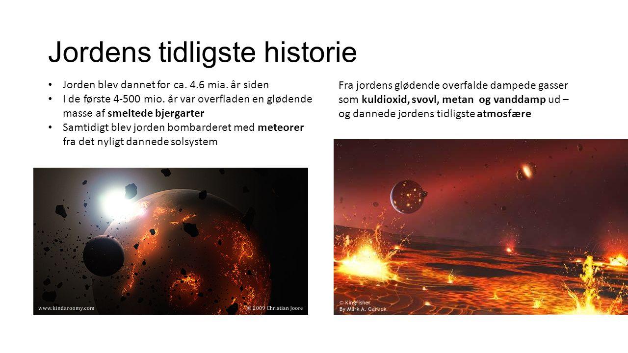 Jordens tidligste historie Jorden blev dannet for ca.