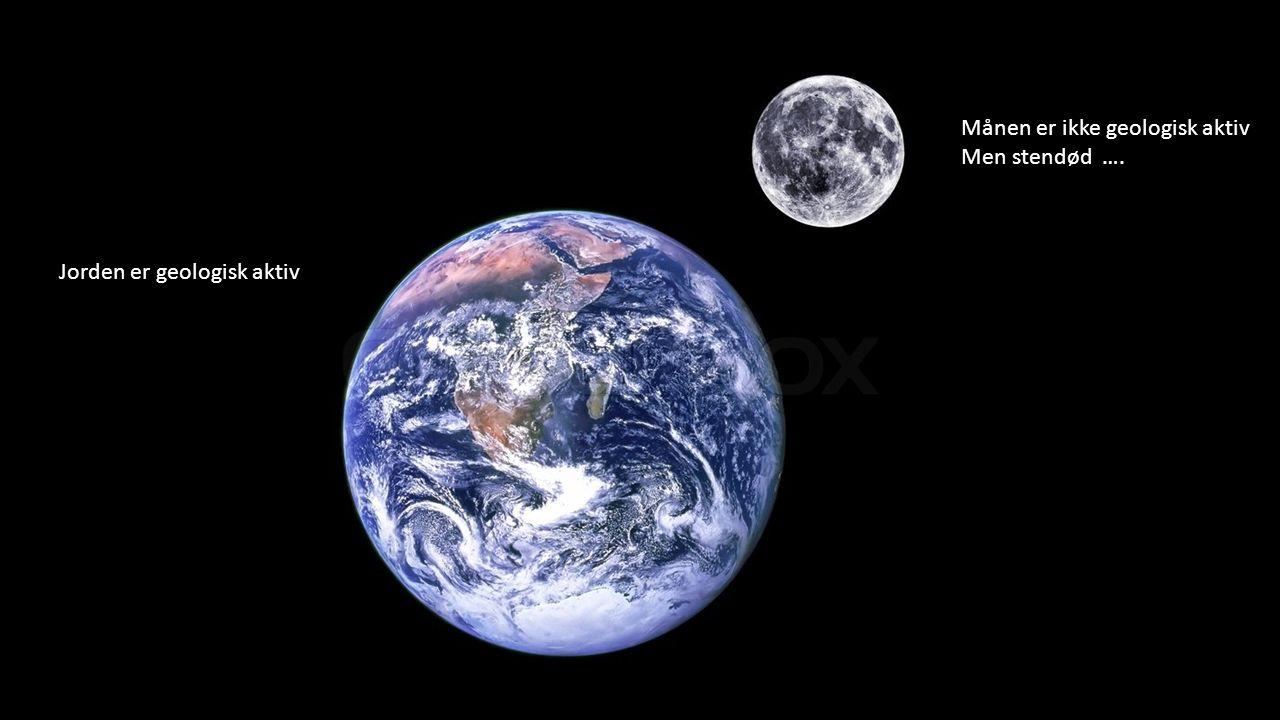 Jorden er geologisk aktiv Månen er ikke geologisk aktiv Men stendød ….
