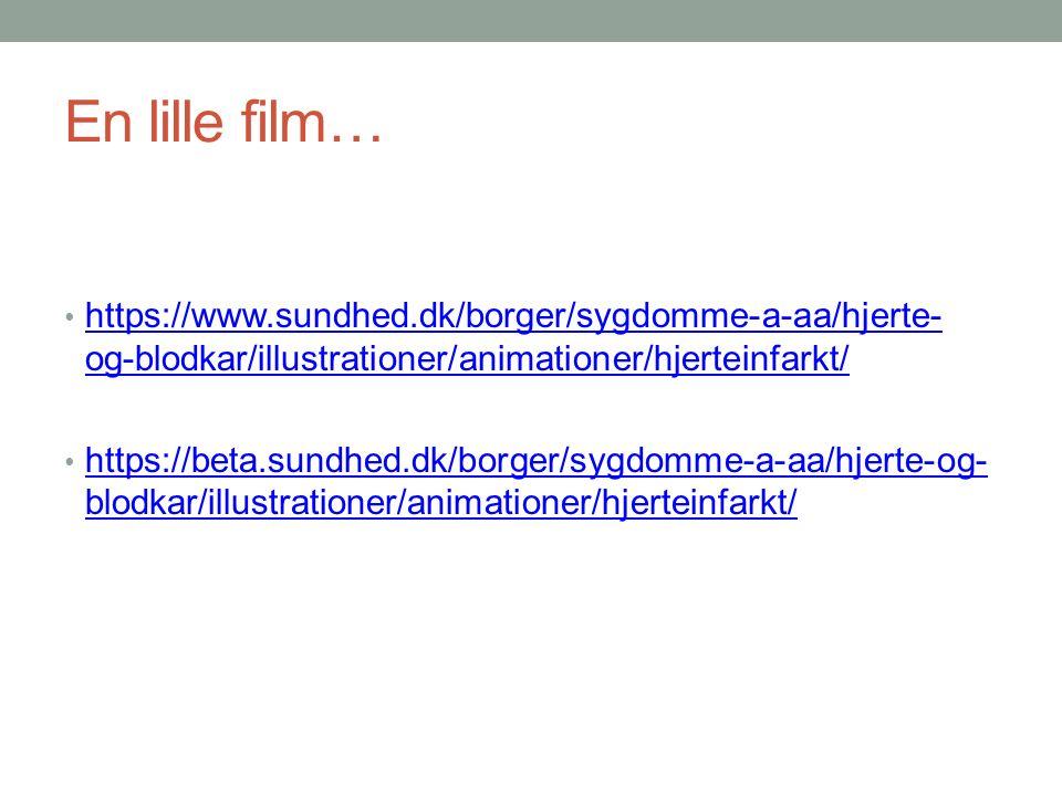 En lille film… https://www.sundhed.dk/borger/sygdomme-a-aa/hjerte- og-blodkar/illustrationer/animationer/hjerteinfarkt/ https://www.sundhed.dk/borger/sygdomme-a-aa/hjerte- og-blodkar/illustrationer/animationer/hjerteinfarkt/ https://beta.sundhed.dk/borger/sygdomme-a-aa/hjerte-og- blodkar/illustrationer/animationer/hjerteinfarkt/ https://beta.sundhed.dk/borger/sygdomme-a-aa/hjerte-og- blodkar/illustrationer/animationer/hjerteinfarkt/