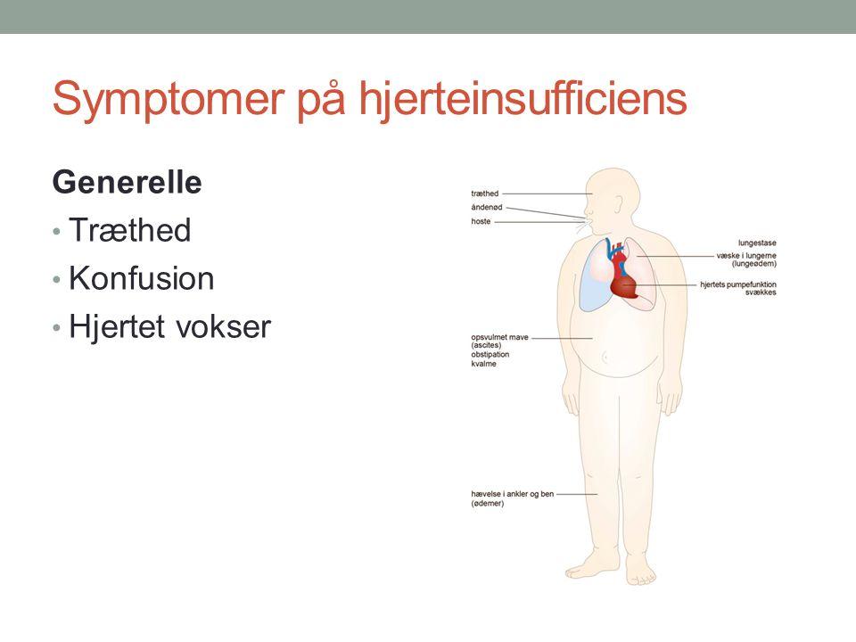 Symptomer på hjerteinsufficiens Generelle Træthed Konfusion Hjertet vokser