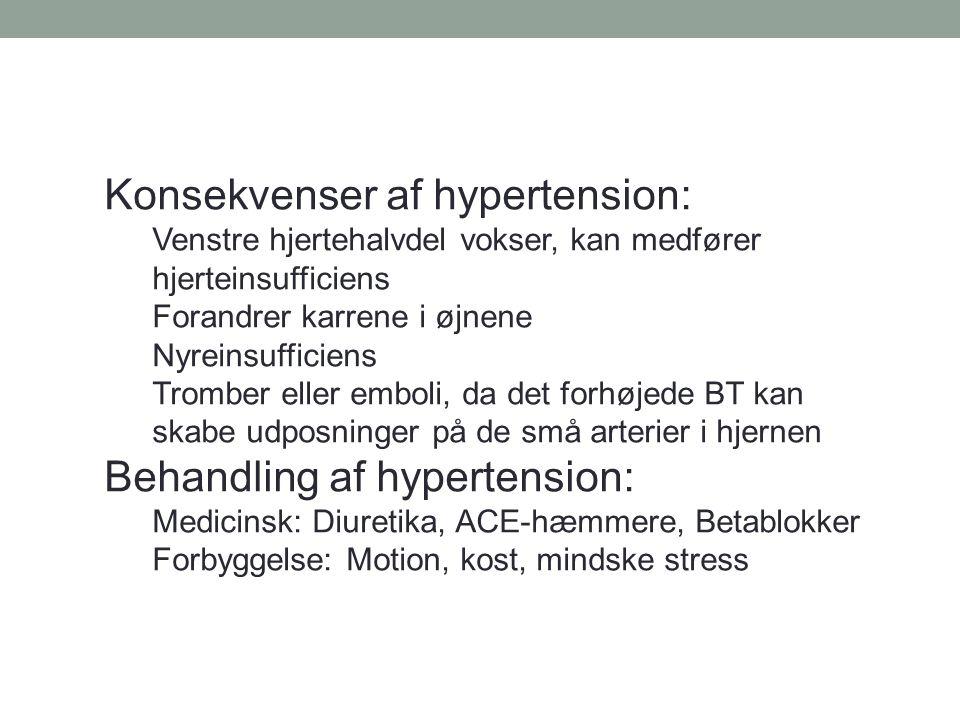 Konsekvenser af hypertension: Venstre hjertehalvdel vokser, kan medfører hjerteinsufficiens Forandrer karrene i øjnene Nyreinsufficiens Tromber eller emboli, da det forhøjede BT kan skabe udposninger på de små arterier i hjernen Behandling af hypertension: Medicinsk: Diuretika, ACE-hæmmere, Betablokker Forbyggelse: Motion, kost, mindske stress