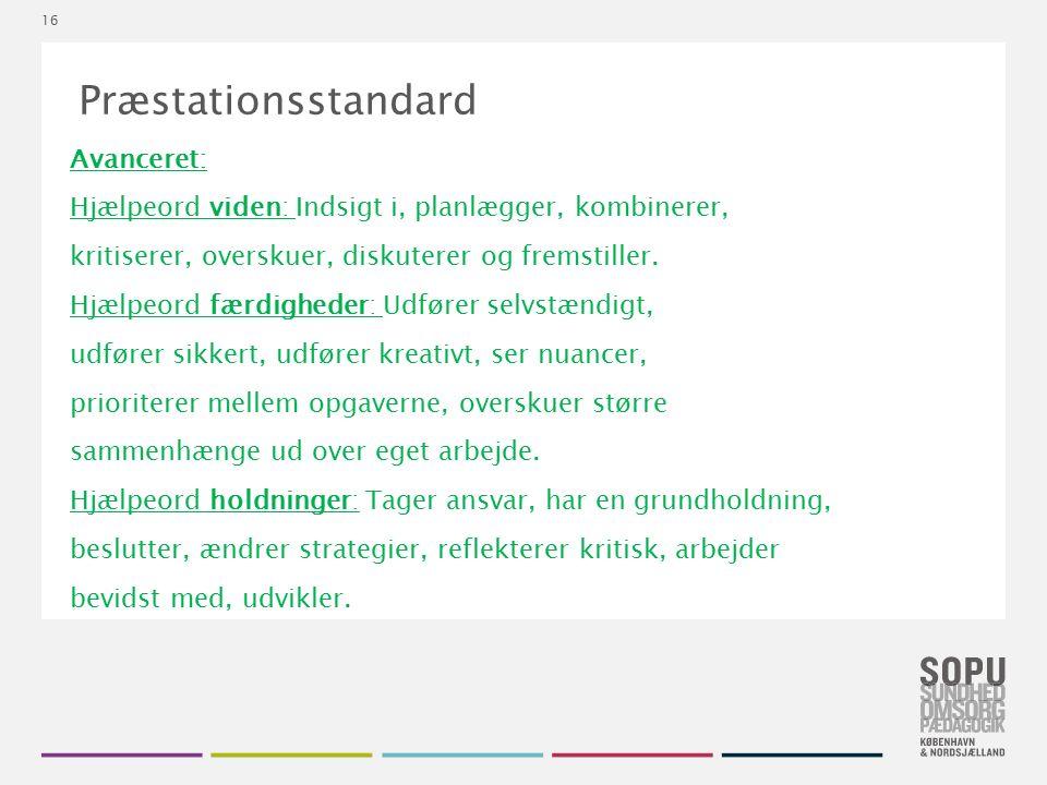 Tekstslide med bullets Brug 'Forøge / Formindske indryk' for at skifte mellem de forskellige niveauer 16 Præstationsstandard Avanceret: Hjælpeord viden: Indsigt i, planlægger, kombinerer, kritiserer, overskuer, diskuterer og fremstiller.