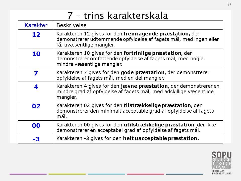 17 7 – trins karakterskala KarakterBeskrivelse 12 Karakteren 12 gives for den fremragende præstation, der demonstrerer udtømmende opfyldelse af fagets mål, med ingen eller få, uvæsentlige mangler.