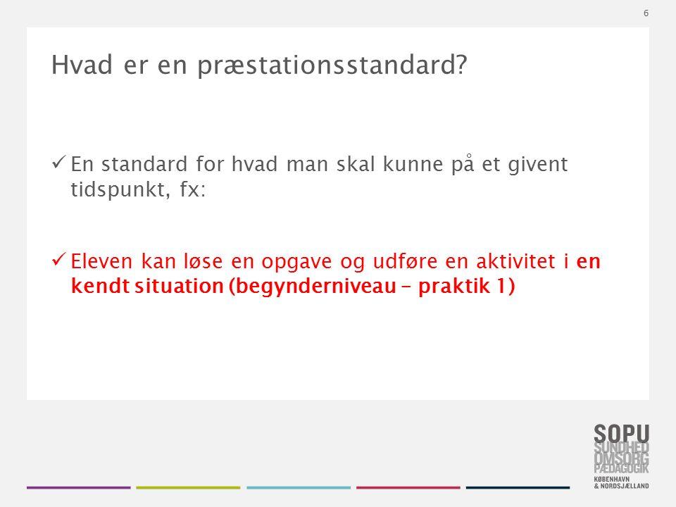 Tekstslide med bullets Brug 'Forøge / Formindske indryk' for at skifte mellem de forskellige niveauer Hvad er en præstationsstandard.