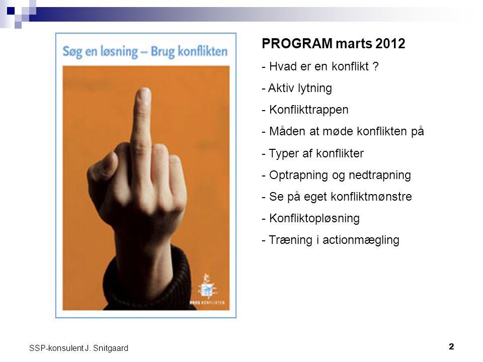 2 SSP-konsulent J. Snitgaard Send PROGRAM marts 2012 - Hvad er en konflikt .