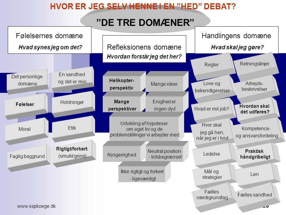 www.sspkoege.dk 23 DE TRE DOMÆNER Følelsernes domæne Hvad synes jeg om det.