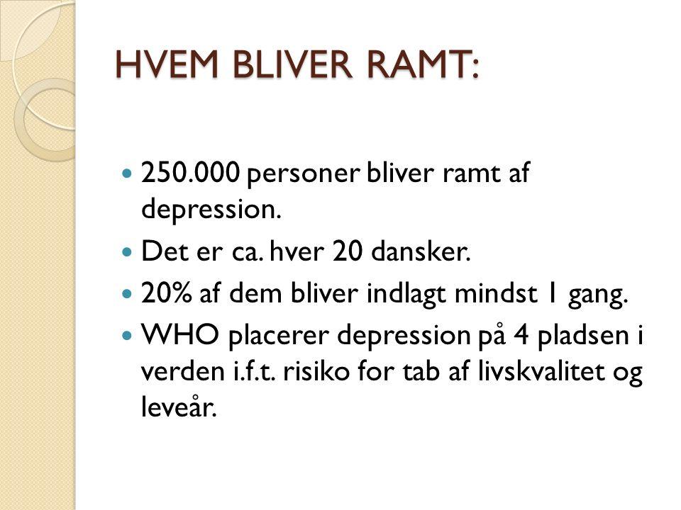 HVEM BLIVER RAMT: 250.000 personer bliver ramt af depression.
