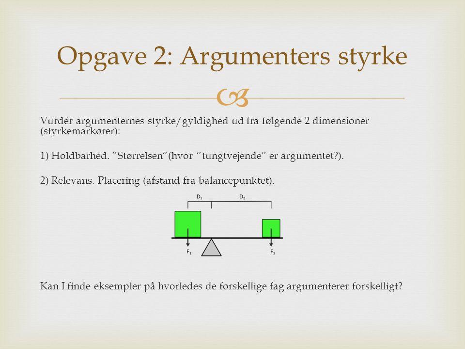 """ Vurdér argumenternes styrke/gyldighed ud fra følgende 2 dimensioner (styrkemarkører): 1) Holdbarhed. """"Størrelsen""""(hvor """"tungtvejende"""" er argumentet?"""