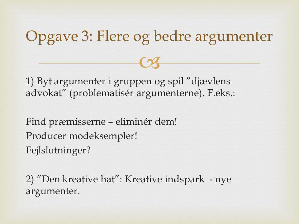 """ 1) Byt argumenter i gruppen og spil """"djævlens advokat"""" (problematisér argumenterne). F.eks.: Find præmisserne – eliminér dem! Producer modeksempler!"""