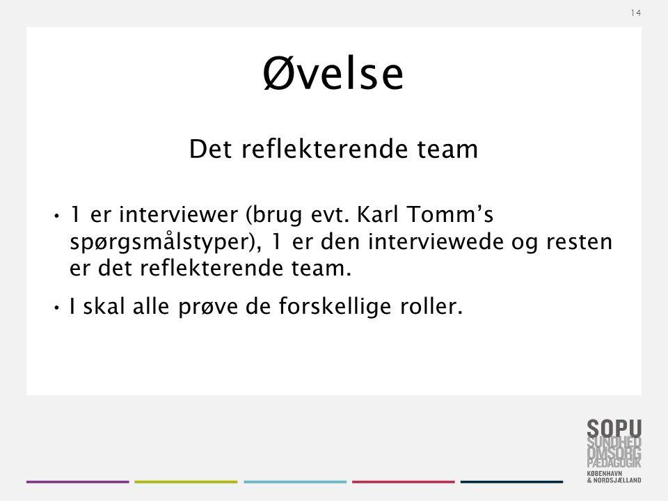 Tekstslide med bullets Brug 'Forøge / Formindske indryk' for at skifte mellem de forskellige niveauer Øvelse Det reflekterende team 1 er interviewer (brug evt.