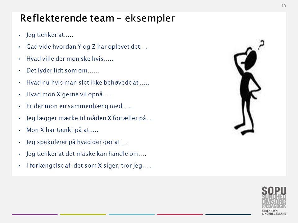 Tekstslide med bullets Brug 'Forøge / Formindske indryk' for at skifte mellem de forskellige niveauer Reflekterende team – eksempler Jeg tænker at.....