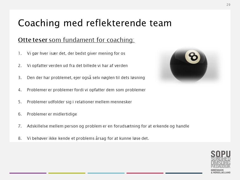 Tekstslide med bullets Brug 'Forøge / Formindske indryk' for at skifte mellem de forskellige niveauer Coaching med reflekterende team Otte teser som fundament for coaching: 1.Vi gør hver især det, der bedst giver mening for os 2.Vi opfatter verden ud fra det billede vi har af verden 3.Den der har problemet, ejer også selv nøglen til dets løsning 4.Problemer er problemer fordi vi opfatter dem som problemer 5.Problemer udfolder sig i relationer mellem mennesker 6.Problemer er midlertidige 7.Adskillelse mellem person og problem er en forudsætning for at erkende og handle 8.Vi behøver ikke kende et problems årsag for at kunne løse det.