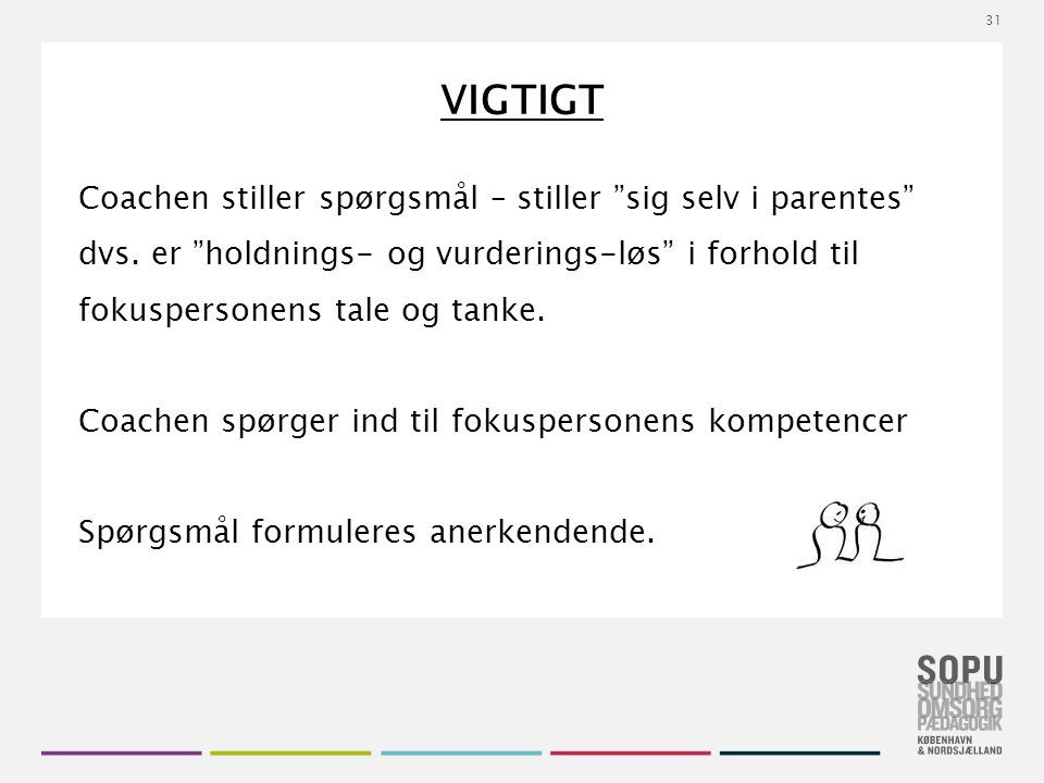 Tekstslide med bullets Brug 'Forøge / Formindske indryk' for at skifte mellem de forskellige niveauer VIGTIGT Coachen stiller spørgsmål – stiller sig selv i parentes dvs.