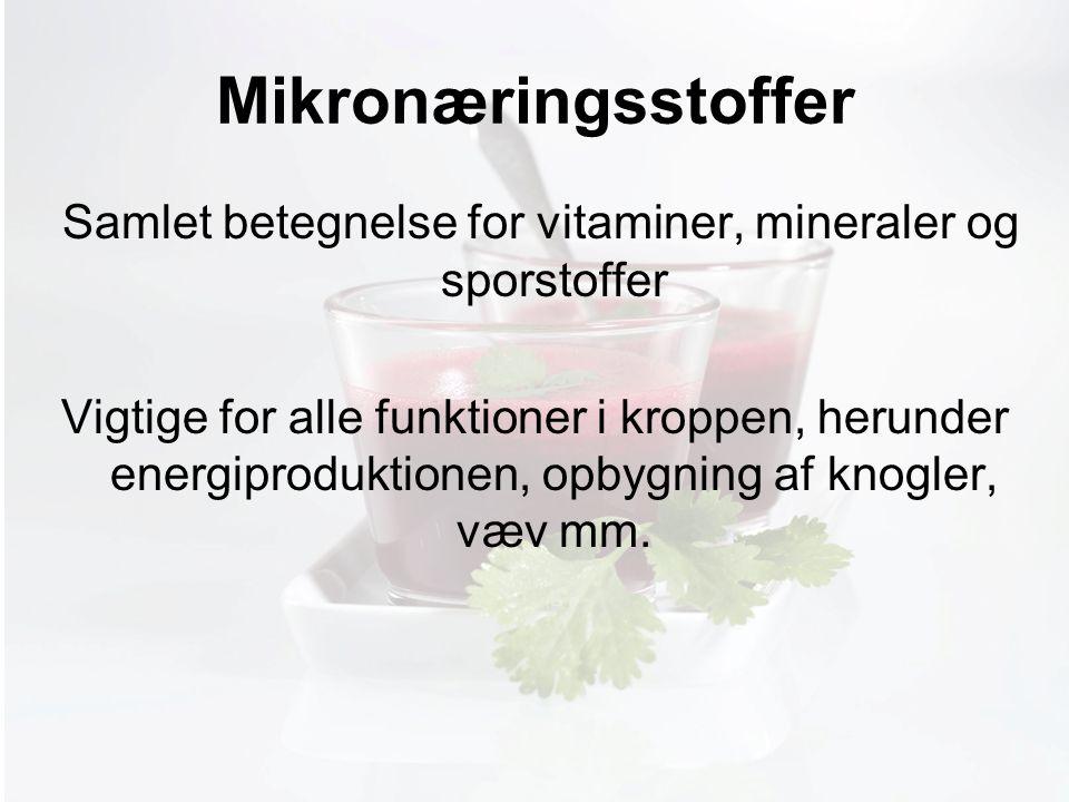 Møde med Pia Mikronæringsstoffer Samlet betegnelse for vitaminer, mineraler og sporstoffer Vigtige for alle funktioner i kroppen, herunder energiproduktionen, opbygning af knogler, væv mm.