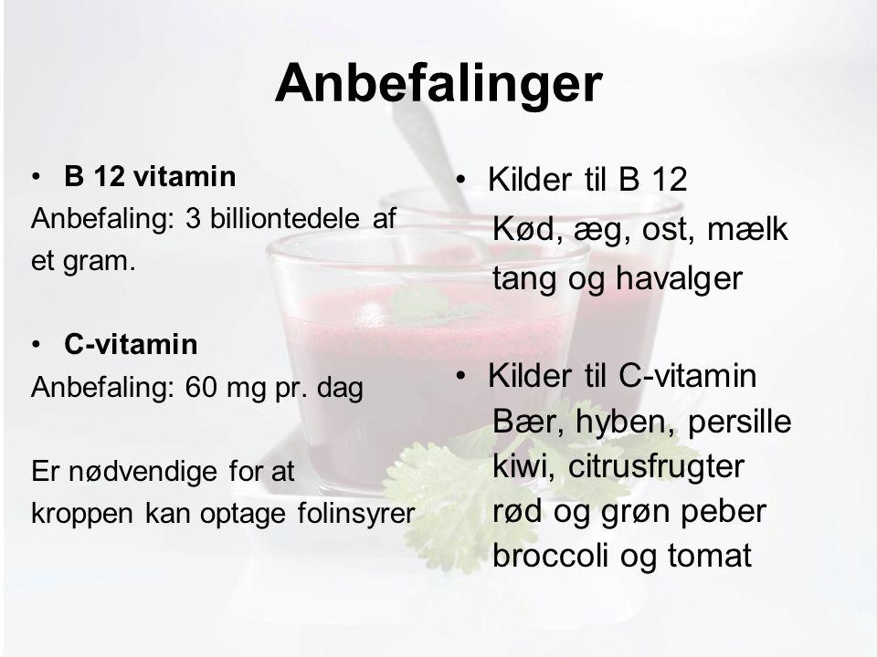 Møde med Pia Anbefalinger B 12 vitamin Anbefaling: 3 billiontedele af et gram.