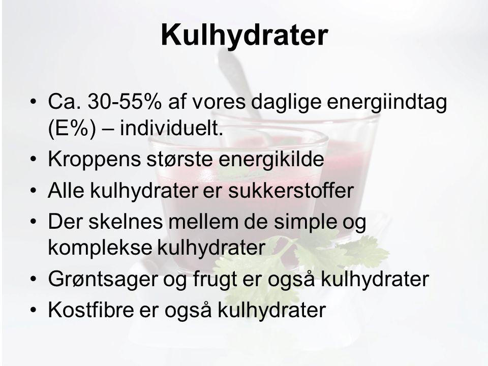 Møde med Pia Kulhydrater Ca. 30-55% af vores daglige energiindtag (E%) – individuelt.
