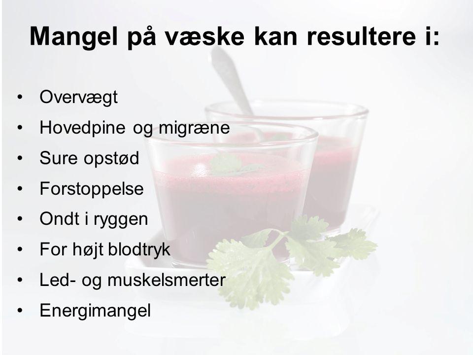 Møde med Pia Mangel på væske kan resultere i: Overvægt Hovedpine og migræne Sure opstød Forstoppelse Ondt i ryggen For højt blodtryk Led- og muskelsmerter Energimangel