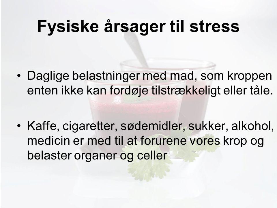 Møde med Pia Fysiske årsager til stress Daglige belastninger med mad, som kroppen enten ikke kan fordøje tilstrækkeligt eller tåle.