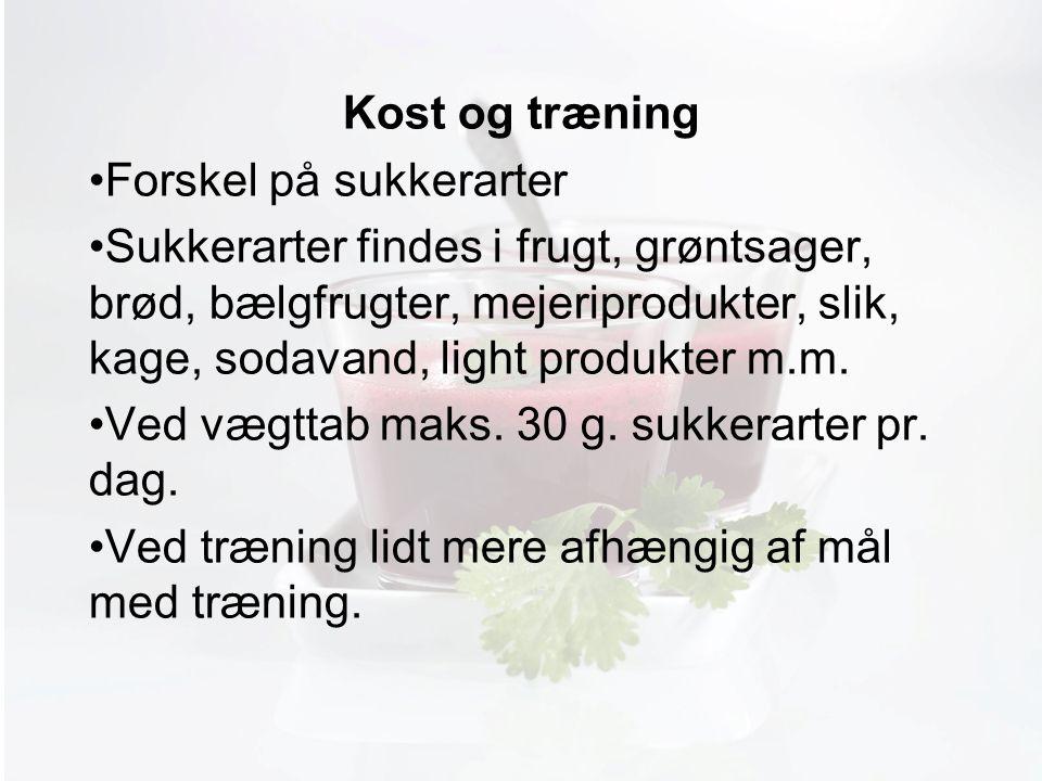 Møde med Pia Kost og træning Forskel på sukkerarter Sukkerarter findes i frugt, grøntsager, brød, bælgfrugter, mejeriprodukter, slik, kage, sodavand, light produkter m.m.