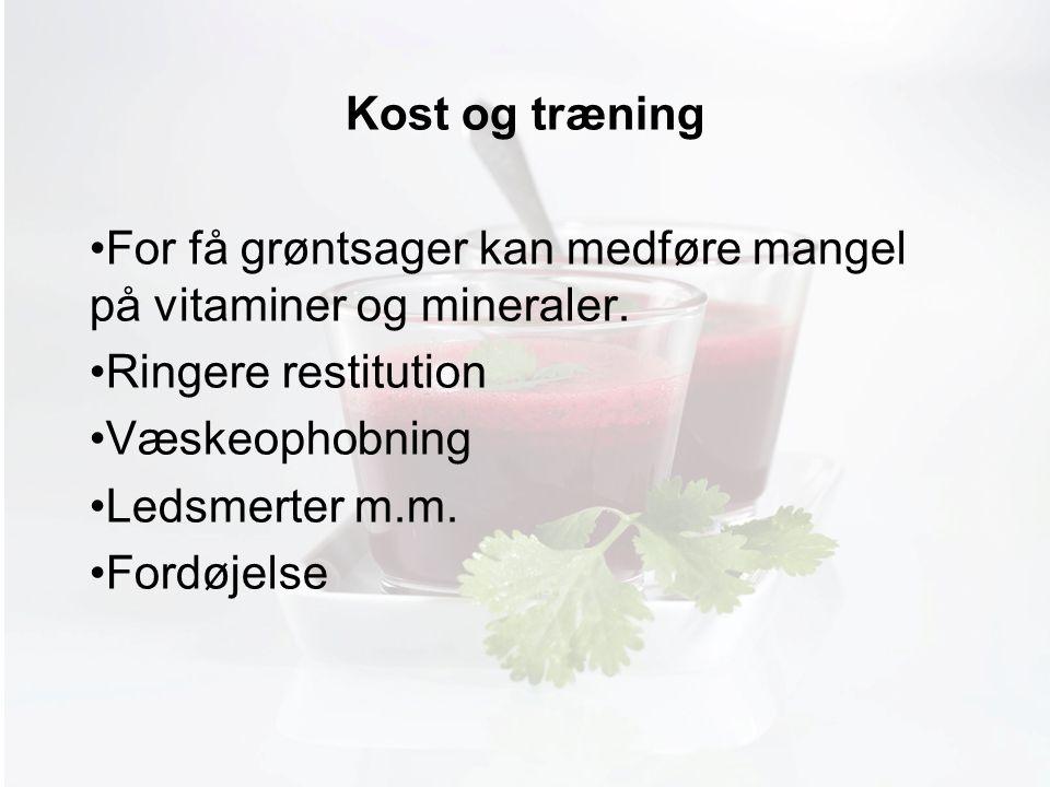 Møde med Pia Kost og træning For få grøntsager kan medføre mangel på vitaminer og mineraler.