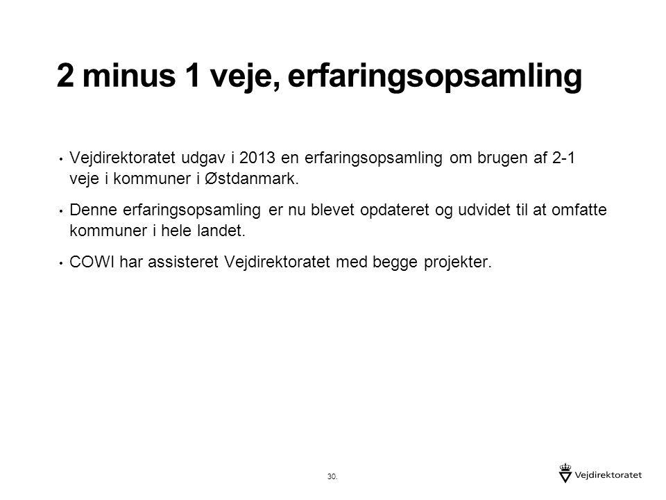 2 minus 1 veje, erfaringsopsamling Vejdirektoratet udgav i 2013 en erfaringsopsamling om brugen af 2-1 veje i kommuner i Østdanmark.
