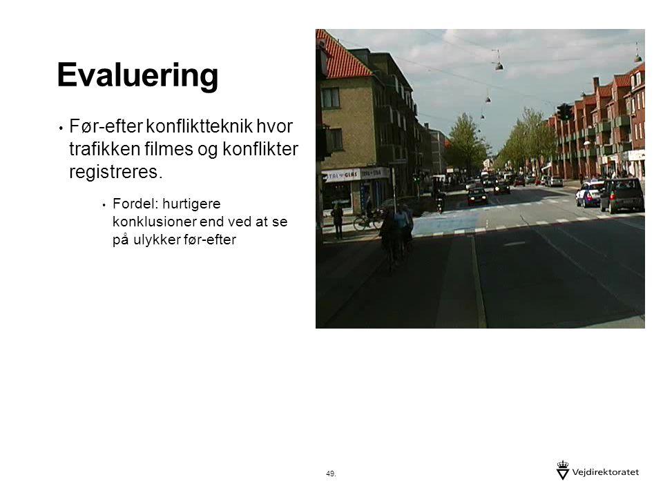 Evaluering Før-efter konfliktteknik hvor trafikken filmes og konflikter registreres.