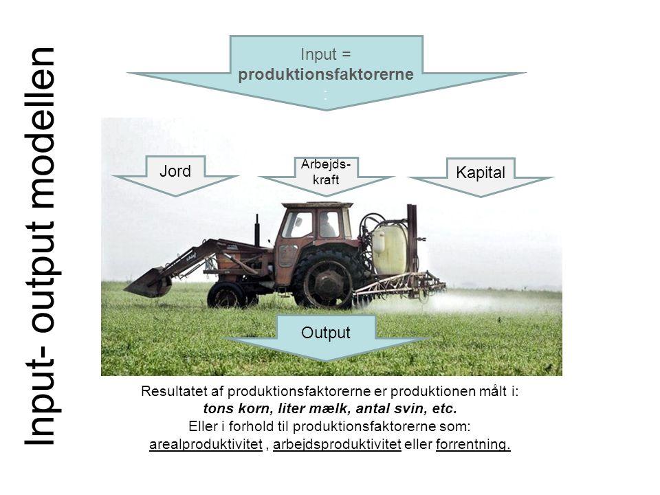 Output Resultatet af produktionsfaktorerne er produktionen målt i: tons korn, liter mælk, antal svin, etc.