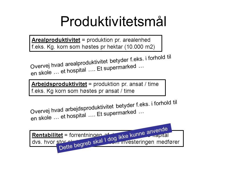 Produktivitetsmål Arealproduktivitet = produktion pr.