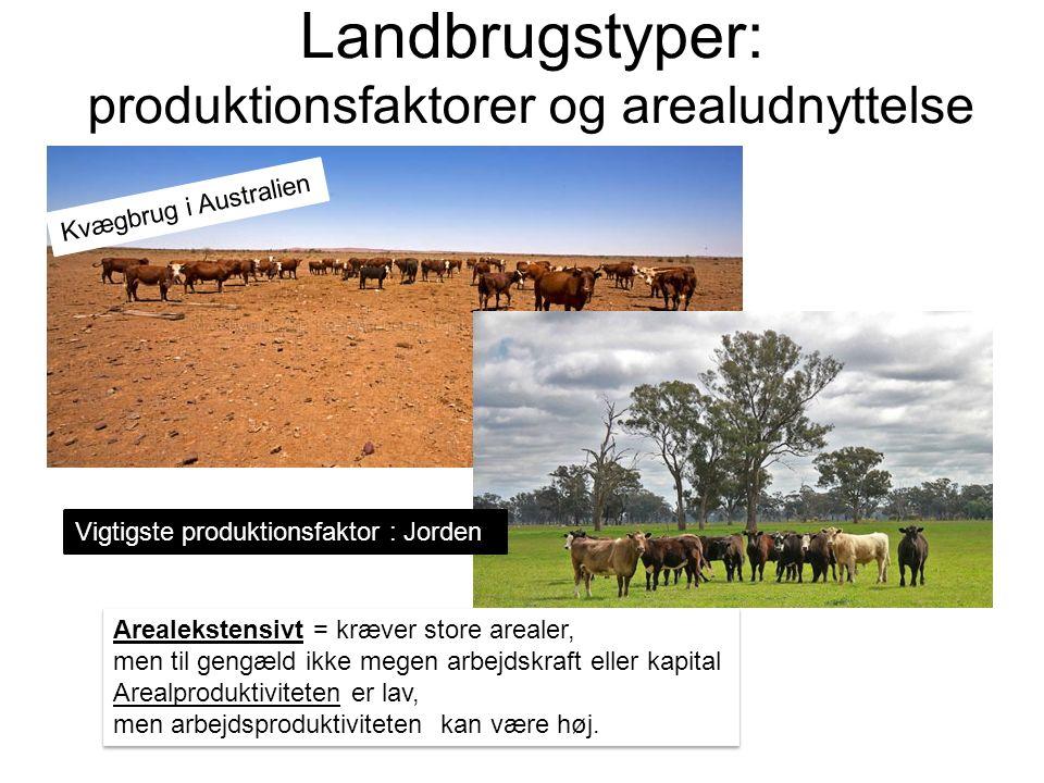 Landbrugstyper: produktionsfaktorer og arealudnyttelse Arealekstensivt = kræver store arealer, men til gengæld ikke megen arbejdskraft eller kapital Arealproduktiviteten er lav, men arbejdsproduktiviteten kan være høj.