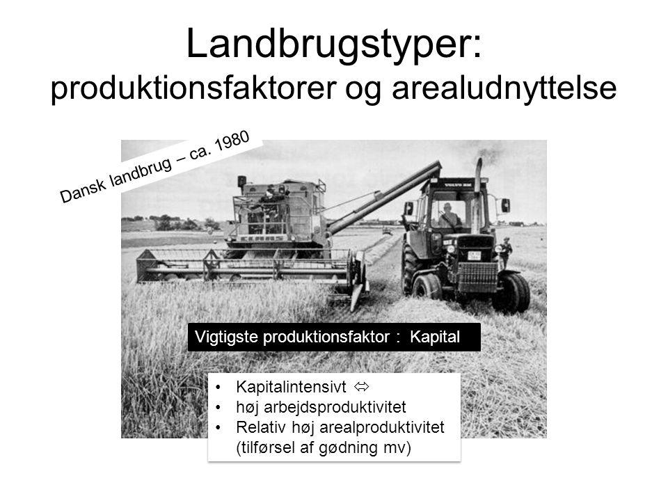 Landbrugstyper: produktionsfaktorer og arealudnyttelse Dansk landbrug – ca.