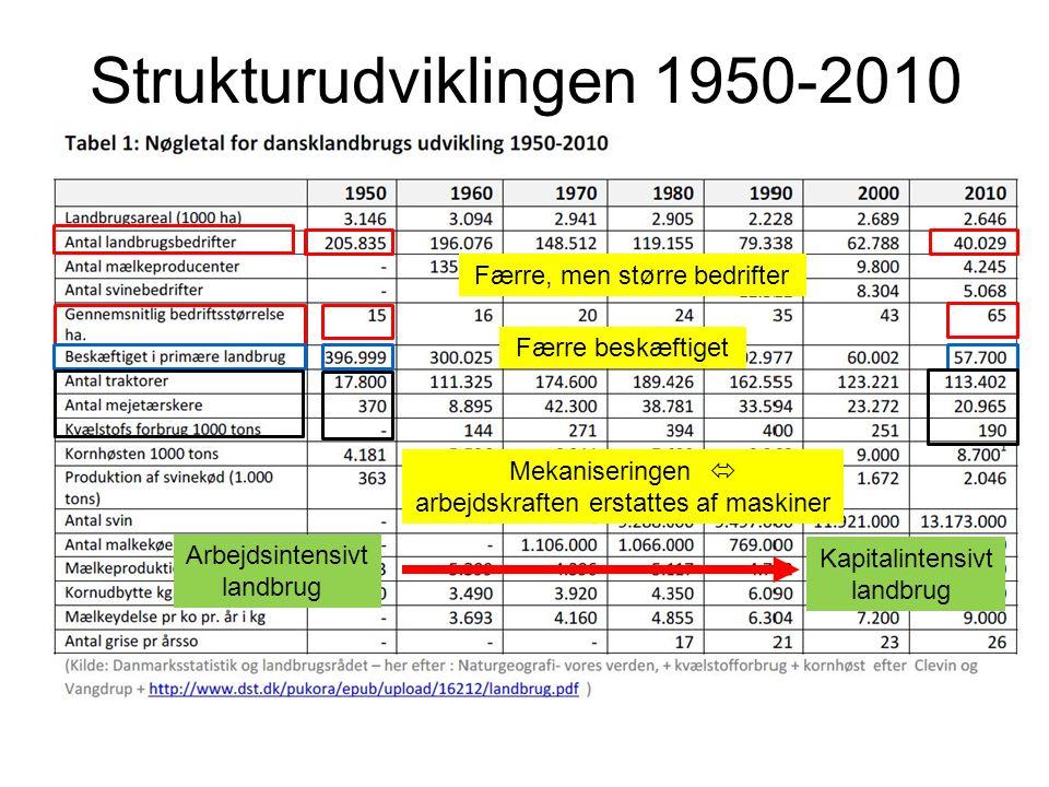 Strukturudviklingen 1950-2010 Færre, men større bedrifter Færre beskæftiget Mekaniseringen  arbejdskraften erstattes af maskiner Arbejdsintensivt landbrug Kapitalintensivt landbrug