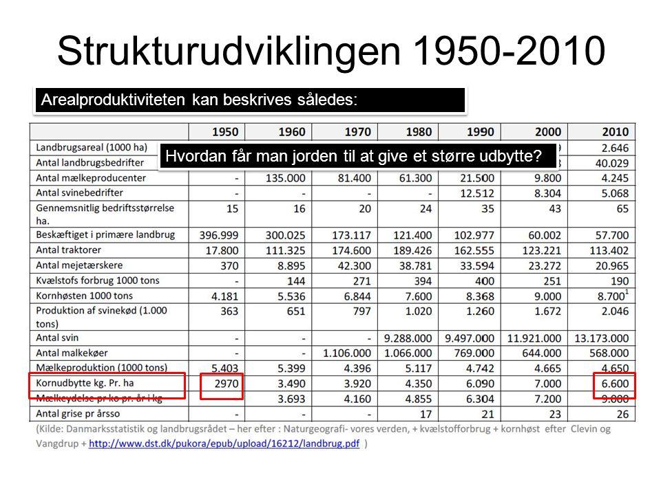Strukturudviklingen 1950-2010 Arealproduktiviteten kan beskrives således: Hvordan får man jorden til at give et større udbytte