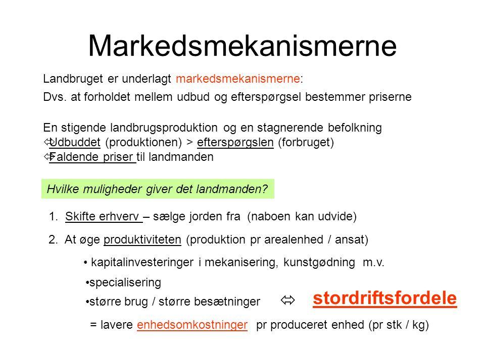 Markedsmekanismerne Landbruget er underlagt markedsmekanismerne: Hvilke muligheder giver det landmanden.