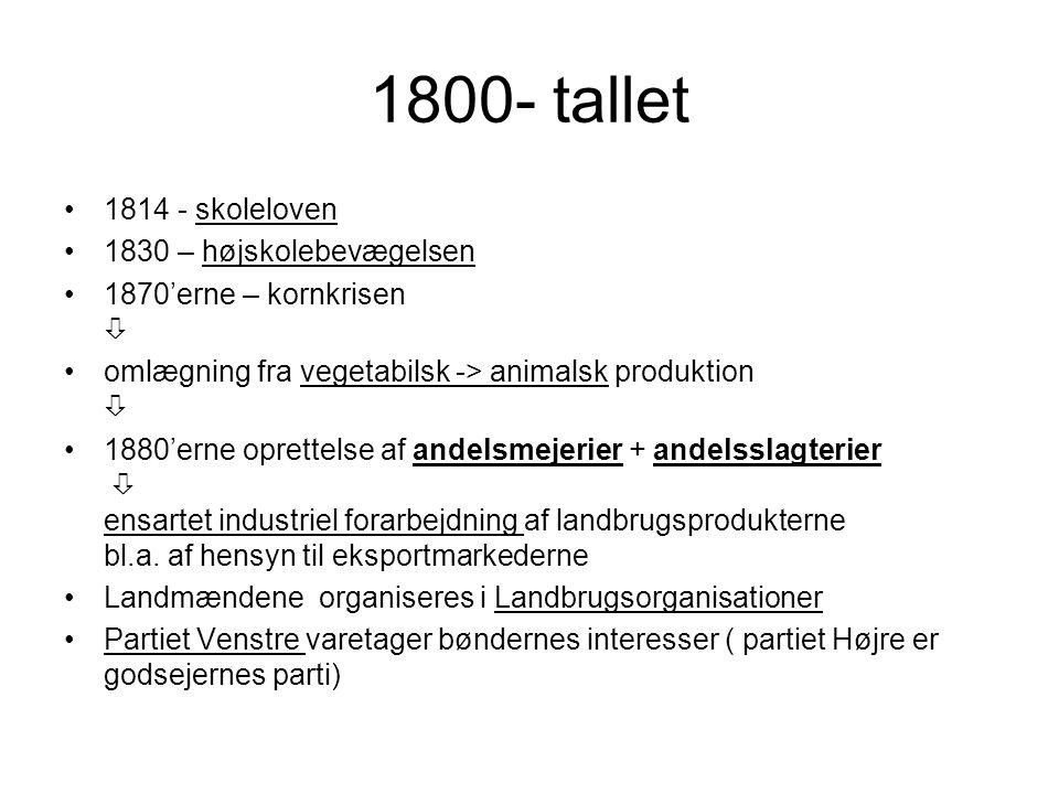 1800- tallet 1814 - skoleloven 1830 – højskolebevægelsen 1870'erne – kornkrisen  omlægning fra vegetabilsk -> animalsk produktion  1880'erne oprettelse af andelsmejerier + andelsslagterier  ensartet industriel forarbejdning af landbrugsprodukterne bl.a.