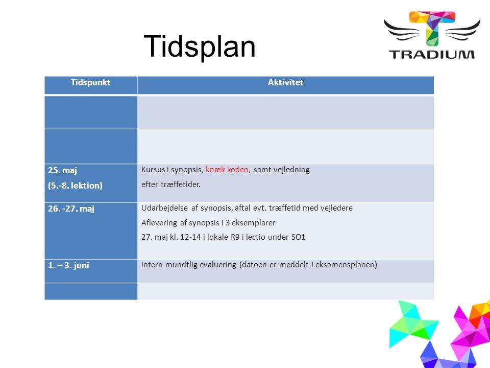 Tidsplan TidspunktAktivitet 25. maj (5.-8.