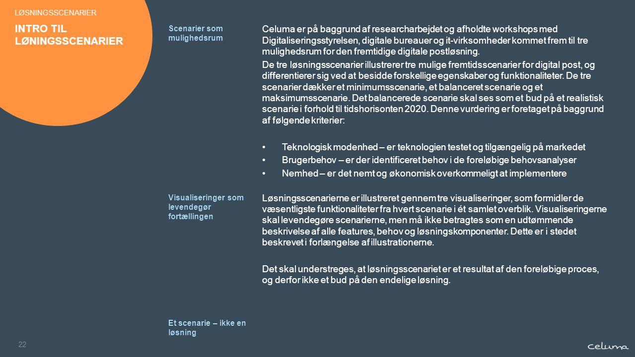 22 Celuma er på baggrund af researcharbejdet og afholdte workshops med Digitaliseringsstyrelsen, digitale bureauer og it-virksomheder kommet frem til tre mulighedsrum for den fremtidige digitale postløsning.