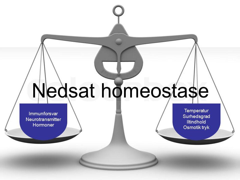 Lægedage p Nedsat homeostase Immunforsvar Neurotransmitter Hormoner Temperatur Surhedsgrad Iltindhold Osmotik tryk