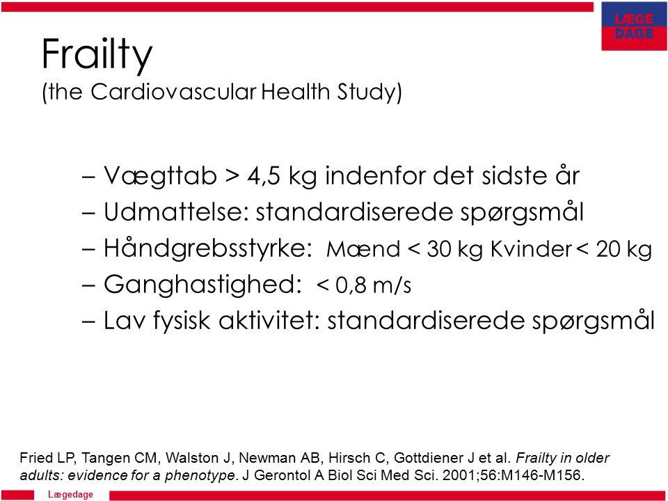 Lægedage Solvejg Henneberg Pedersen 2011 Frailty (the Cardiovascular Health Study) –Vægttab > 4,5 kg indenfor det sidste år –Udmattelse: standardiserede spørgsmål –Håndgrebsstyrke: Mænd < 30 kg Kvinder < 20 kg –Ganghastighed: < 0,8 m/s –Lav fysisk aktivitet: standardiserede spørgsmål Fried LP, Tangen CM, Walston J, Newman AB, Hirsch C, Gottdiener J et al.