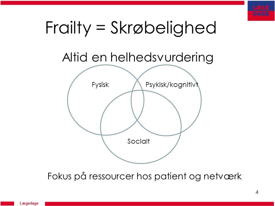 Lægedage Frailty = Skrøbelighed Altid en helhedsvurdering 4 FysiskPsykisk/kognitivt Socialt Fokus på ressourcer hos patient og netværk