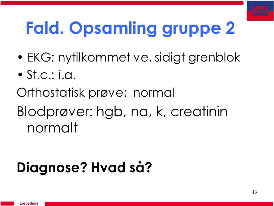 Lægedage Fald. Opsamling gruppe 2 EKG: nytilkommet ve.