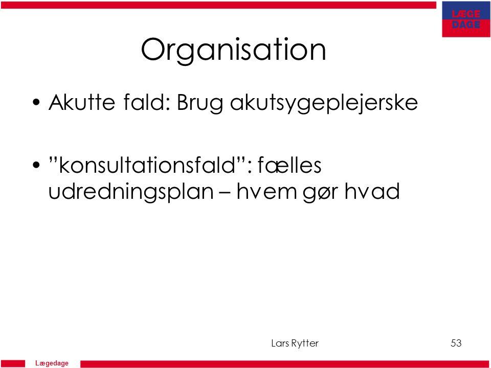Lægedage Organisation Akutte fald: Brug akutsygeplejerske konsultationsfald : fælles udredningsplan – hvem gør hvad Lars Rytter53