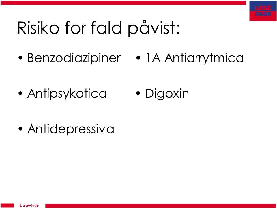 Lægedage Risiko for fald påvist: Benzodiazipiner Antipsykotica Antidepressiva 1A Antiarrytmica Digoxin
