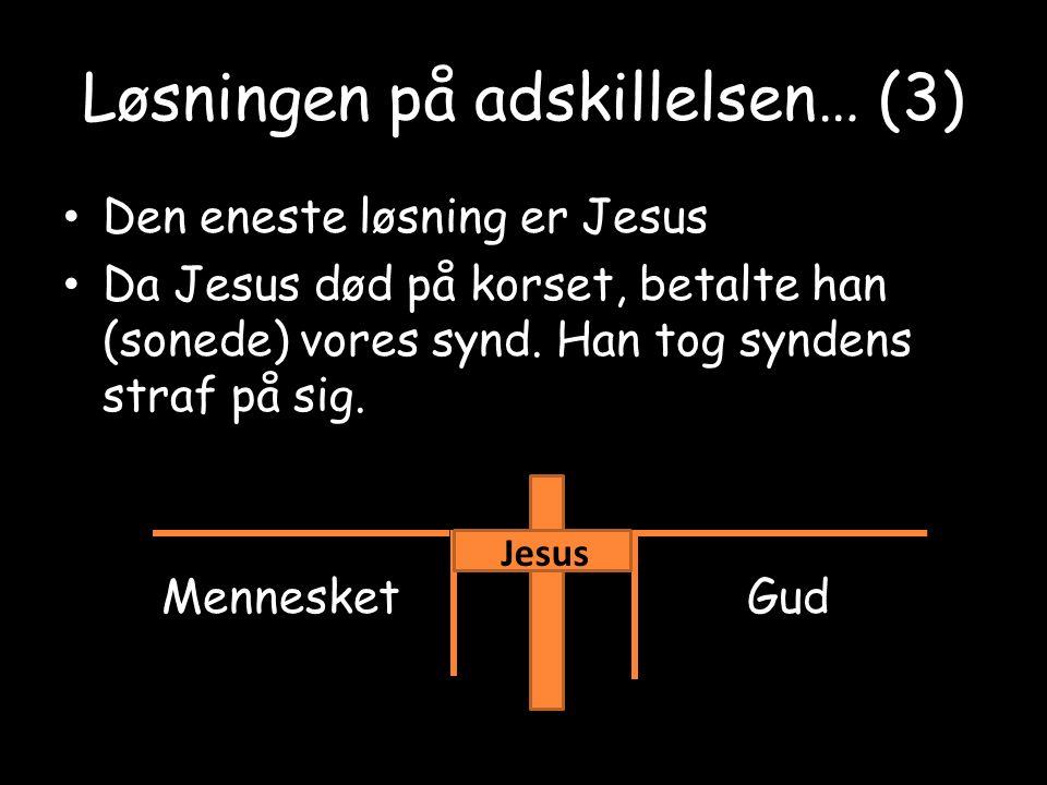 Løsningen på adskillelsen… (3) Den eneste løsning er Jesus Da Jesus død på korset, betalte han (sonede) vores synd.